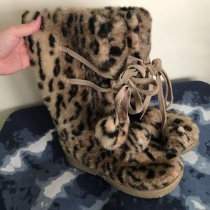 Colin Stuart Leopard Fur Boots